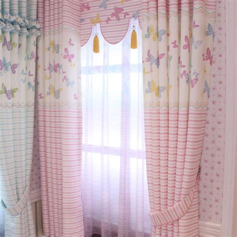 pink butterfly curtains finished product short curtain male girl child real