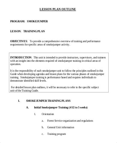 outline of a lesson plan template 9 lesson plan outline sles sle templates