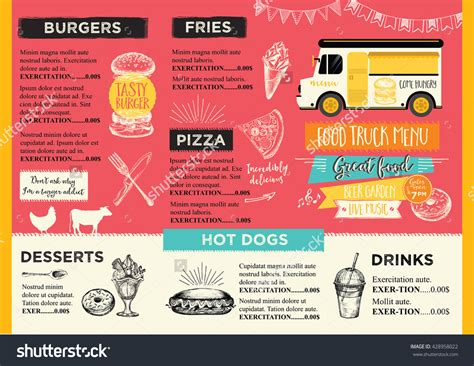 food truck menu template food truck festival menu food brochure food template design vintage creative