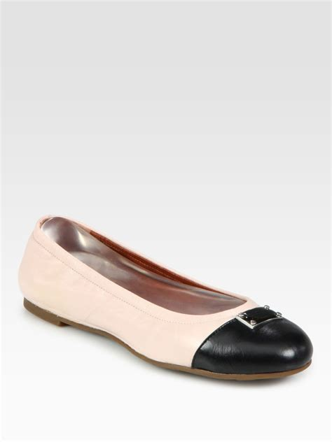 marc by marc flat shoes marc by marc contrast leather plaque ballet flats