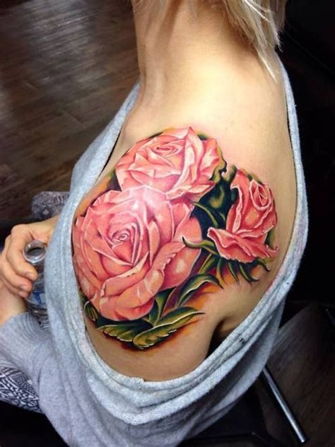 red pretty roses tattoo on shoulder tattoomagz