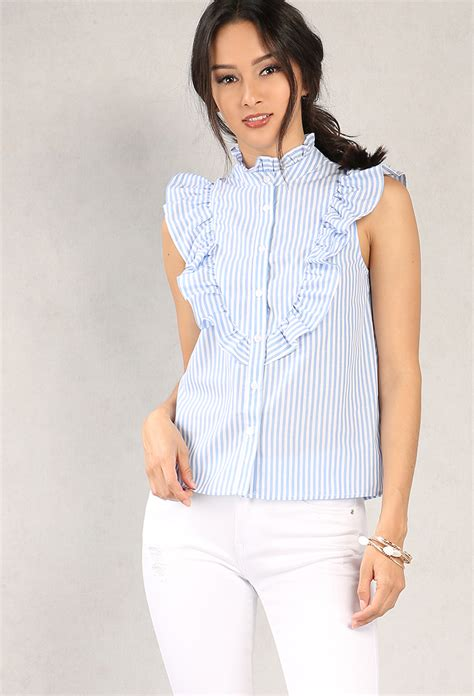 Striped Ruffled Blouse ruffled stripe high neck button up blouse shop tops at