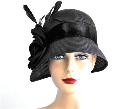 items similar to black straw cloche hat