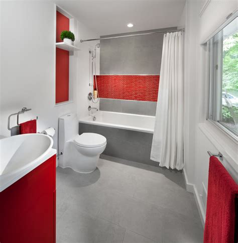 small red bathroom ideas modern red kitchen contemporary bathroom dc metro