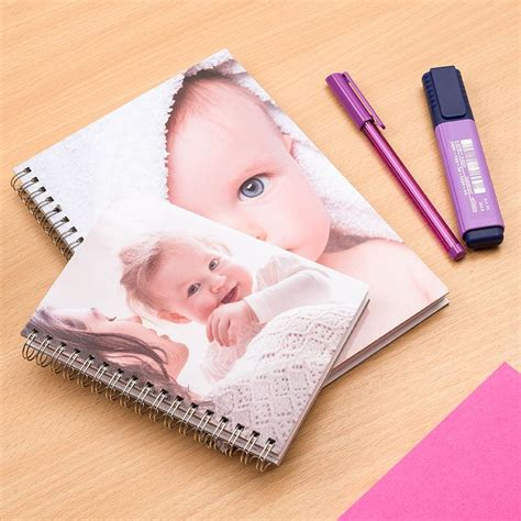 personalised spiral notebook with photos on hardback cover