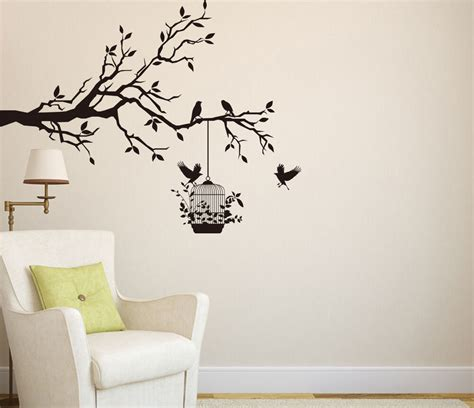 tree branch  birds cage art vinyl wall sticker wall