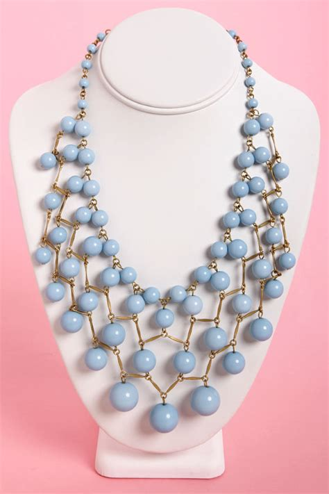 light blue beaded necklace pretty light blue necklace beaded necklace bib