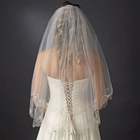 beaded veil 2 tier beaded embroidered veil bridal hair