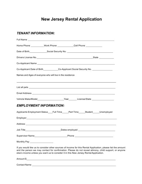 apply for housing assistance in nj free new jersey rental application form pdf word