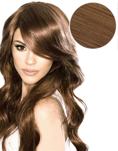 belami 6 in 1 hair curler side swept clip in bangs chestnut brown 6 bellami