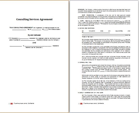 word consulting services agreement template free