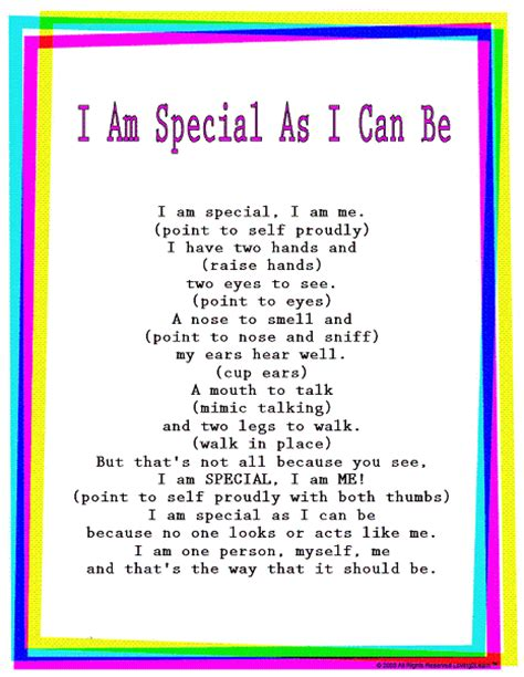 song special rhymes songs quot i am special as i can be quot read