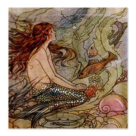 vintage mermaid shower curtain vintage mermaid shower curtain on