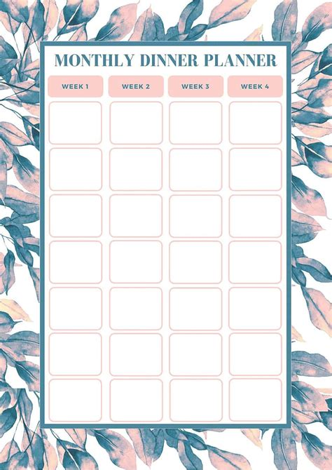 Free Monthly Meal Planning Template Bake Play Smile Monthly Planner Template