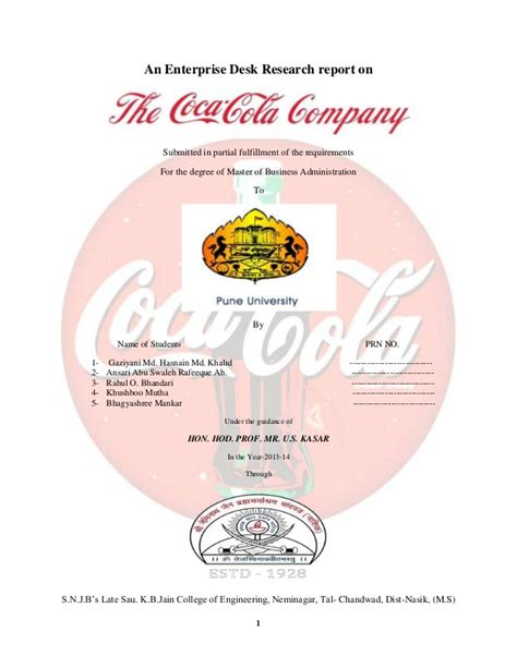Mba Project Management Malaysia by Coca Cola Company Project Report Mba 1st Year