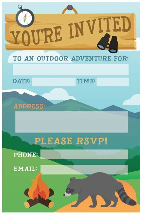 camp out invitations printable free camping birthday party invite free printable invite