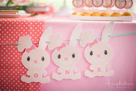 Cute Rabbit Themes | cute rabbit theme birthday party dessert table at the bank