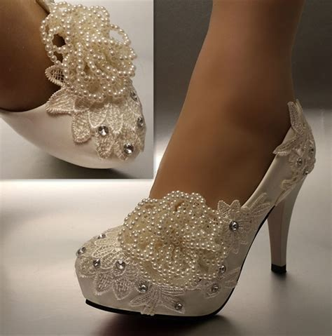 Wedding Shoes Heels White by 3 4 Quot White Ivory Pearl Lace Wedding Shoes Bridal