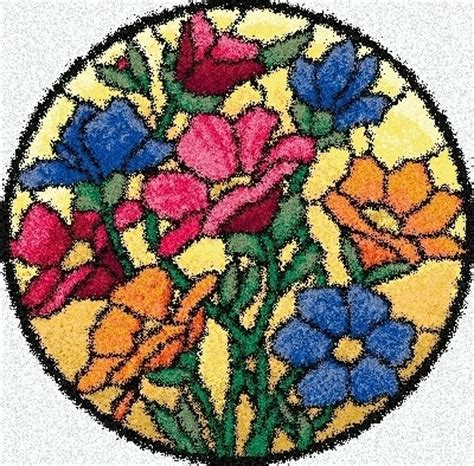 latch hook rug pattern chart stained glass flowers