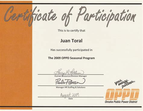 certification of participation free template best photos of wording for certificate of participation