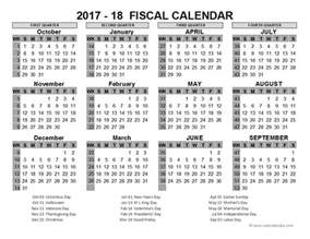 Fiscal Year 2018 Calendar 2017 Us Fiscal Year Template Free Printable Templates