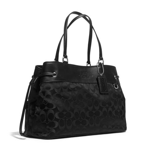 Coach Drawstring Carryall Tote lyst coach drawstring carryall in signature in black