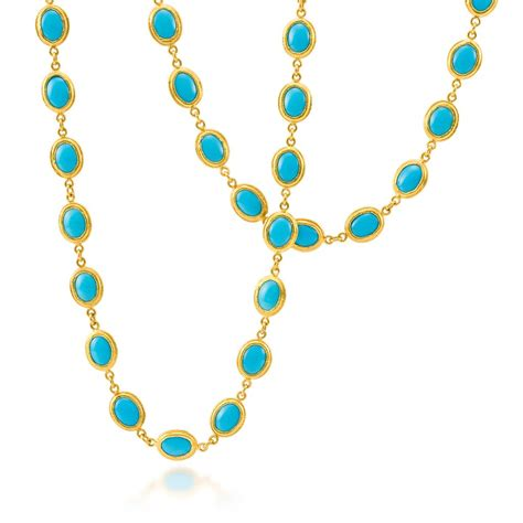 ara 24k yellow gold turquoise necklace desires by