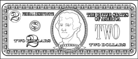 coloring page dollar bill printable two dollar bill to color