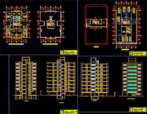 apartments building dwg section  autocad designs cad