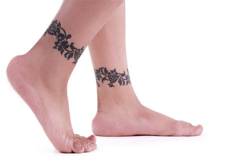butterfly and flower ankle tattoos design idea