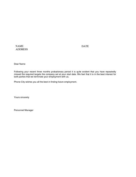 termination letter format during probation period best photos of employee probation letter sle employee
