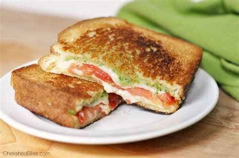 Link Mozzarella And Pesto Grilled Cheese by Pesto Caprese Grilled Cheese Cherished Bliss