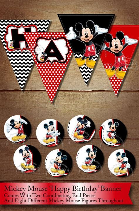Bunting Flag Happy Birthday Banner Hbd Karakter Mickey Minnie Mouse instant mickey mouse black yellow happy birthday chevron pennant banner printable