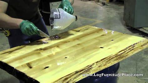 liquid glass finish  applied  cabin furniture  jhes log furniture place youtube