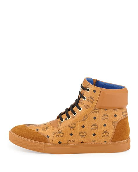 mcm mens sneakers mcm classic high top sneakers in orange for lyst