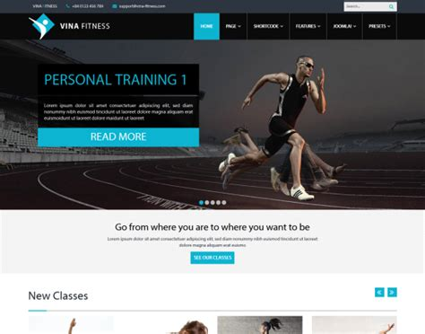 Vina Fitness Ii Health Sport Gyms And Trainers Template Fitness Website Design Templates