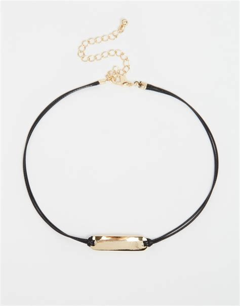 Choker Black Necklace Polos lyst asos sleek bar cord choker necklace in black