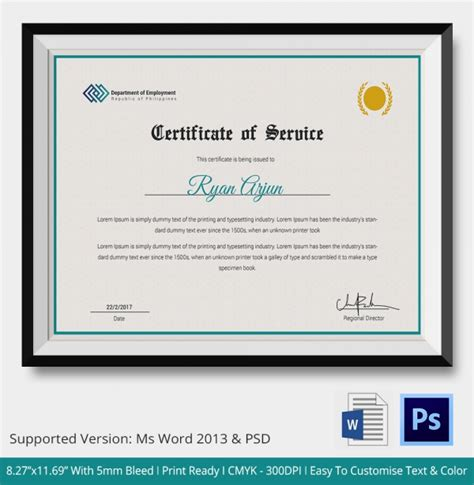 certificate of service template 11 free word pdf