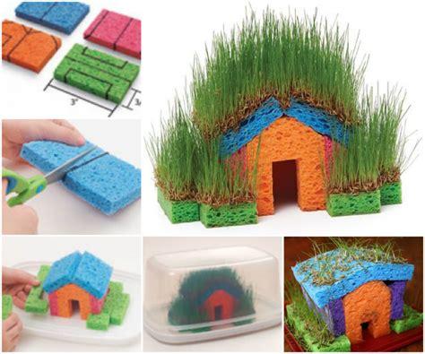 little family fun shape house educational craft educational diy mini grass houses for kids