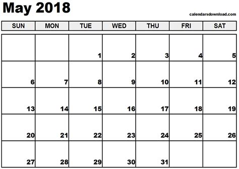 may 2018 calendar monthly calendar 2017