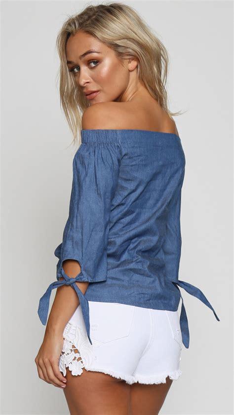 Loliy Blues Blouse lolly shoulder denim top