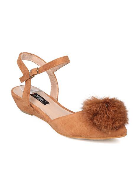 Wedges Mix Pom Pom new dbdk bunny 3 mixed media pom pom d orsay low wedge sandal