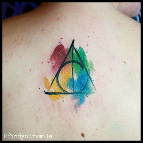 watercolor tattoo la watercolor deathly hallows entertainmentmesh
