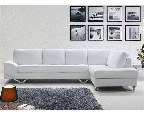 Modern White Or Latte Leather Sectional Sofa Set 44l6064 Modern White Sectional Sofa