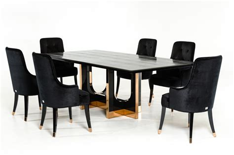 Modern Set by Vig A X Padua Modern Black Large Crocodile Dining Set
