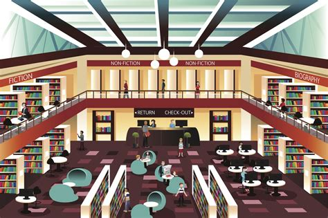 library clipart images so a non librarian walks into a library of librarians