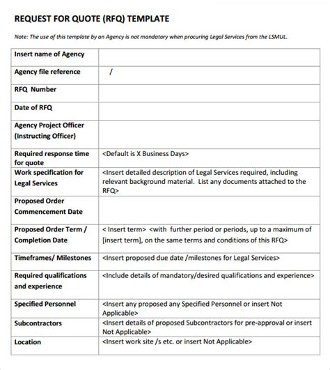 free rfq template quotation template 14 free documents in pdf