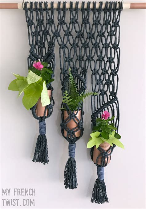 Come Macrame With Me - macrame 3 pot planter tutorial my twist