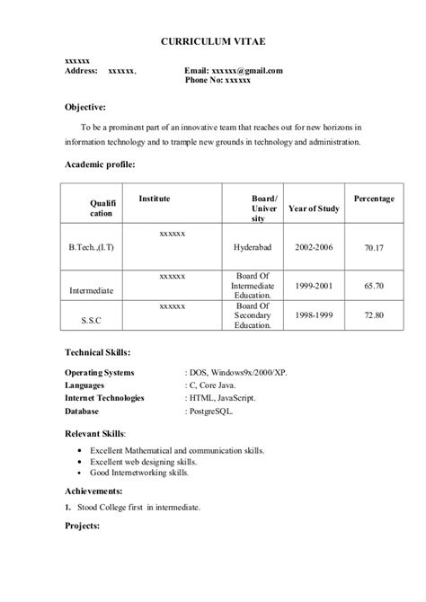 Resume Format For Bcom Freshers Ppt Fresher Resume Sle12 By Babasab Patil