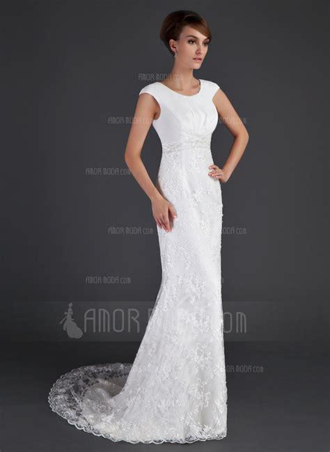 a line princess scoop neck court lace wedding dress
